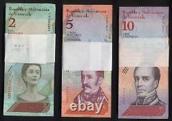 3 Originalbündel Original Bundlees Venezuela, 2 + 5 + 10 Bolivares Soberano 2018