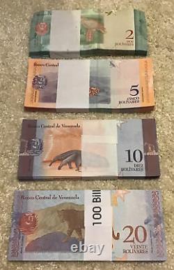 400 Billets. 4 X Ensembles De Billets Du Venezuela. 100 X 2,5,10,20 Bolivars. 2018