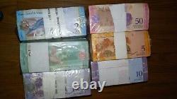 6 Brique 2 5 1000 Bolivares Fuertes Y 2 10 50 Soberanos Billets Unc Venezuela