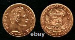 A Venezuela 1912 Gem Bu 20 Or Bolivares Simon Bolivar-coat Of Arms. 1867 Agw
