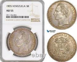 Af823, Venezuela, 5 Bolivares 1905, Paris, Argent, Mbac Au55, Rare