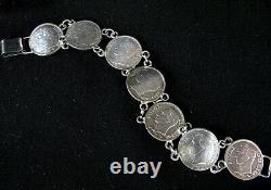 Bracelet De Pièces D'argent Antique Venezuela Simon Bolivar 1945-1960