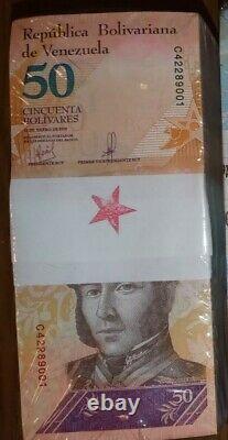 Brick Remplacement 1000 Billets 50 Bolivars Star Note Venezuela Unc Rare