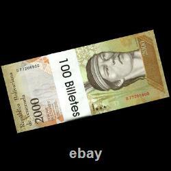Bricklot 1000 Pcs, Venezuela 2000 2000 Bolivares, P-96, Unc, 10 Liasses