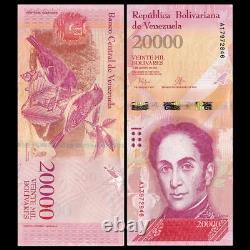 Brique Lot 1000 Pcs, Venezuela 20000 Bolivares, 2016-2017, P-new, Faisceaux Unc10