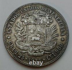 Csc Venezuela 5 Bolivares 25 Gram 1935 P. Y#24.2. Pièce De Peso De Dollar De Couronne D'argent