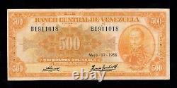 F. C. Venezuela, 500 Bolivaires 1958, B/c+ (fine+), Puntos De Aguja, P. 37b