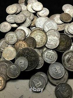 Huge Lot Of Venezuela Silver Coin (104 Pcs) 2 Bolivar, Bolivar, 50 Centimos, 25c