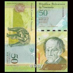 Lot Complet 100 Pcs, Venezuela 50 Bolivares, 2015, P-92, Unc