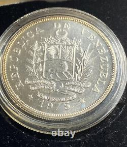 Monnaie Royale Venezuela 1975 Pièces De Preuve En Argent Casé 50 Et 25 Bolivares