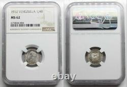 Ngc- Ms62 Venezuela 1912 1/4 Bolivares Pièce D'argent Très Rare