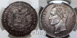 Ngc-au Venezuela 1911 Simon Bolivar 5 Bolivares Moneda Plata Patina Preciosa Ebc