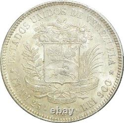 O25 Very Rare Venezuela 5 Bolivares 1888 Paris Argent Pcgs Au58