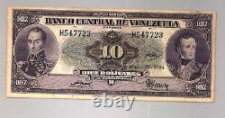 Rare Venezuela 10 Bolivares Serie H 6 1954 P 31 C Simon Bolivar Et Sucre Ef