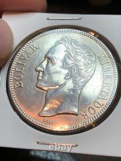 Sasa Unc 1936 Venezuela 5 Bolivars Argent Pièce Étrangère