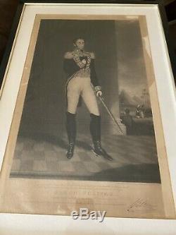 Simon Bolivar Lithographie Originale 1827 Venezuela Imprimé À Londres, Angleterre