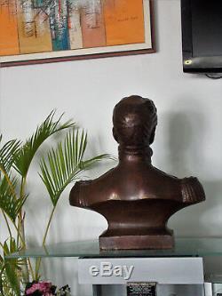 Très Lourd Bronze Art Vintage Sculpture Sujet Simon Bolivar 100 Lbs