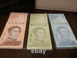Venezuela 10.000 / 20.000 / 50.000 Bolivars 2019 Nouveau Bundle Total 300 Pcs Unc
