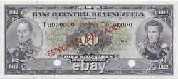 Venezuela 10 Bolivares 1963-1970 P45s Specimen Non Circulé