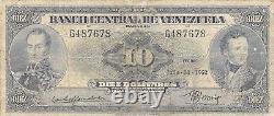 Venezuela 10 Bolivars 7.31.1952 Série G Rares Billets De Banque Distribués
