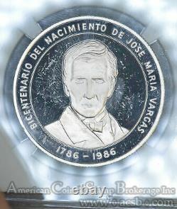 Venezuela 100 Bolivares 1986 Pr63 Ucam Ngc Argent Km#60 Rare Small 500 Mintage