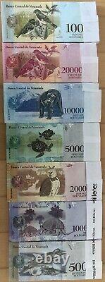 Venezuela 100 Ensembles De 500 100000 Bolivares Unc Banknote (700 Billets) Bundle