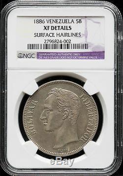 Venezuela 1886 5 Bolivars 25 Gram Rare Argent Coine- Xf Ngc # Ma S-6