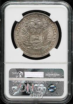 Venezuela 1919 5 Bolivares 25 Gram Rare Silver Coine- Au-55- Ngc Ma-1