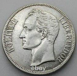 Venezuela 1929 Libertador 5 Bolivares Silver Coin Au/unc Very Nice