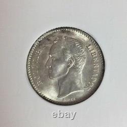 Venezuela 1935 Pièce D'argent 1 Bolivar Simon Ngc Ms62