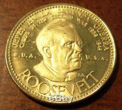 Venezuela 1957 Médaille D'or 20 Bolivars Guerre Mondiale Question Roosevelt Des Etats-unis