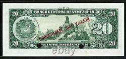 Venezuela 1960-1966, Spécimen Sin Val 20 Bolivares, P43s2, Unc