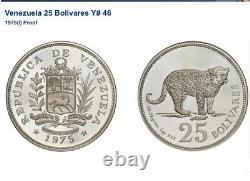 Venezuela 1975 Argent 25 Bolivares Jaguar Conservations Wildlife Ngc Pf62