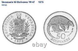 Venezuela 1975 Argent 50 Bolivares Giant Armadillo Wildlife Ngc Ms65
