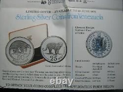 Venezuela 1975 Unc 25 50 Bolivares Jaguar Armadillo Conservation Ensemble De Pièces D'argent