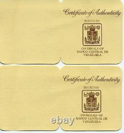 Venezuela 1975 World Wildlife Fund Proof Silver 25 - 50 Bolivares (lot De 2)