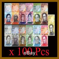 Venezuela 2 100 000 Bolivars (13 Pièces Set) X 100 Lot Bundle, 2007-2017 Unc