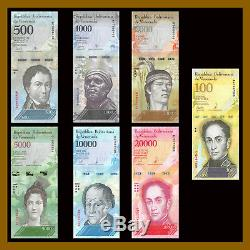 Venezuela 2-100000 Bolivars & Soberanos (21 Pcs Ensemble Complet) X 100 Lot 07-2018 Unc