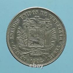 Venezuela 2 Bolivares 1902 Moneta Molto Rara Argent Coin Numismatica Monnaie