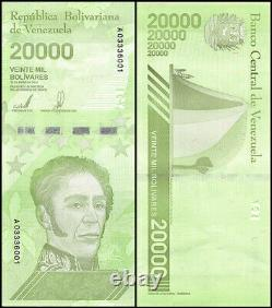 Venezuela $20,000 Bolivares 2019 Nouveau Unc 1 Brique 1000 Pcs Ultra Rare Billets