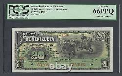 Venezuela 20 Bolivares 189(ca1897) Ps281s Spécimen Non Distribué