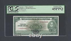 Venezuela 20 Bolivares 31-7-1952 Série G P39s Spécimen Tdlr Extrêmement Fine