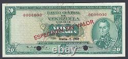 Venezuela 20 Bolivares 5-3-1968 P46bs2 Spécimen Non Circulé