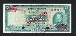 Venezuela 20 Bolivars 27-1-1970 P46ds Spécimen Tdlr Aunc-unc