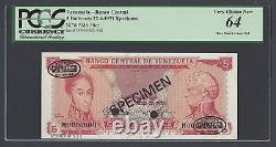 Venezuela 5 Bolivares 22-6-1971 P50es Spécimen Tdlr N002 Non Circulé