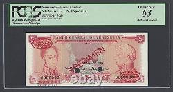 Venezuela 5 Bolivares 27-01-1970 P50ds Spécimen Tdlr N003 Non Circulé