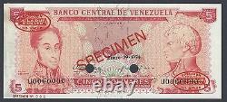 Venezuela 5 Bolivares 29-01-1974 P50hs Spécimen Tdlr