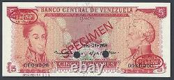 Venezuela 5 Bolivares 29-04-1969 P50bs Spécimen Tdlr Non Circulé