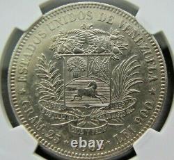 Venezuela 5 Bolivars 1886 Ngc Ua Détails (nettoyés). Catégorie Rare
