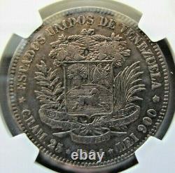 Venezuela 5 Bolivars 1904 Ngc Xf 40. Rare De Cette Haute Qualité